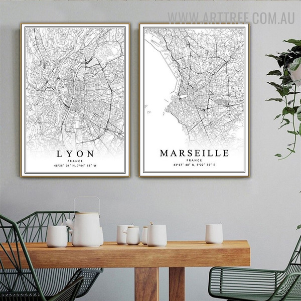 Lyon Abstract Map 2 Piece Vintage Art Pic Canvas Print for Room Wall Assortment