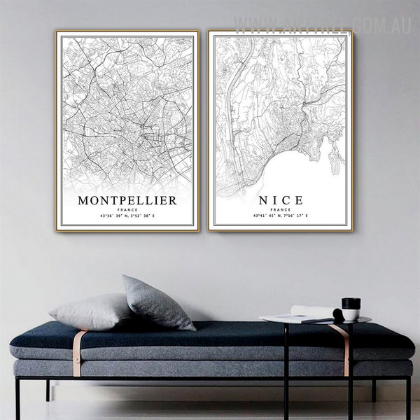 Montpellier France 2 Piece Vintage Abstract Map Artwork Photo Canvas Print for Room Wall Tracery
