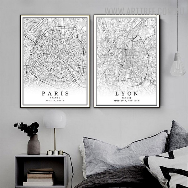 Paris France Lyon Abstract Map Vintage Painting Image 2 Panel Canvas Print for Room Wall Décor