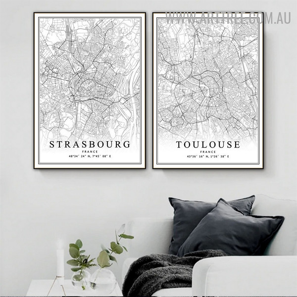 Strasbourg France Toulouse Abstract Artwork Picture 2 Panel Map Vintage Canvas Print for Room Wall Finery
