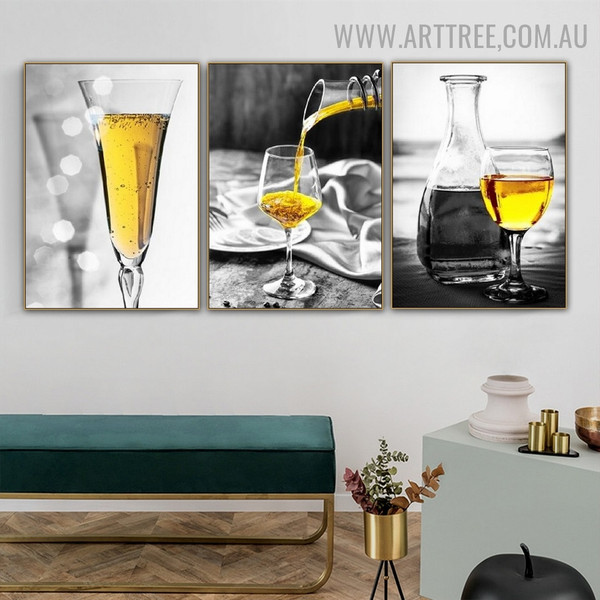Wine Magnum Glasses Abstract 2 Piece Beverage Modern Painting Pic Canvas Print for Room Wall Embellishment