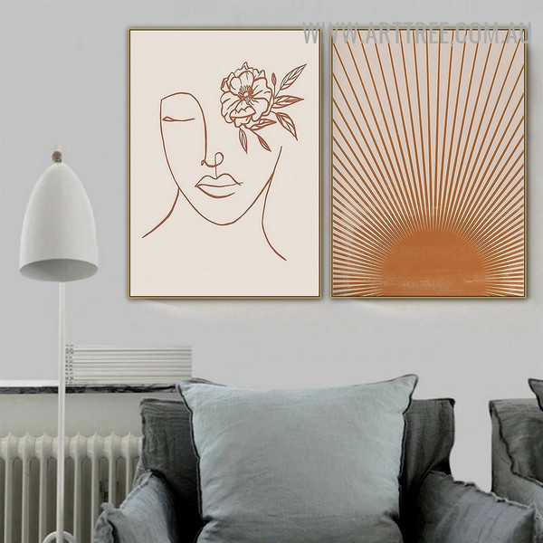 Sun Rays Woman Scandinavian Naturescape Modern Painting Pic Canvas 2 Piece Abstract Art Print for Room Wall Illumination