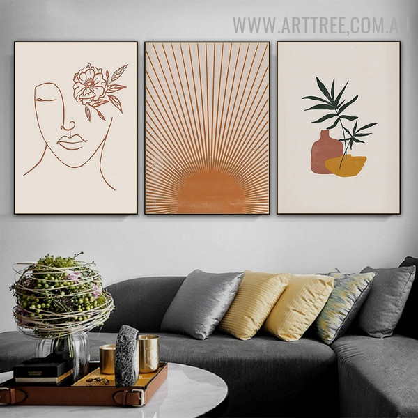 Commode Leaves Sun Ray Modern Picture Canvas Print Abstract 3 Panel Scandinavian Floral Art Wall Hanging Molding