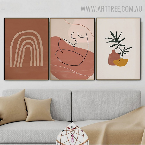Nude Woman Rainbow Abstract Scandinavian Floral 3 Piece Modern Painting Picture Canvas Print for Room Wall Embellishment