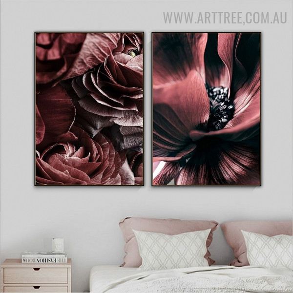 Rose Bloom Abstract Floral Modern Painting Photograph 2 Piece Canvas Print for Wall Hanging Drape