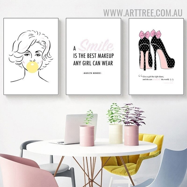 Girl Bubble Gum Smile 3 Piece Quotes Abstract Photograph Canvas Print Modern Wall Painting for Room Assortment