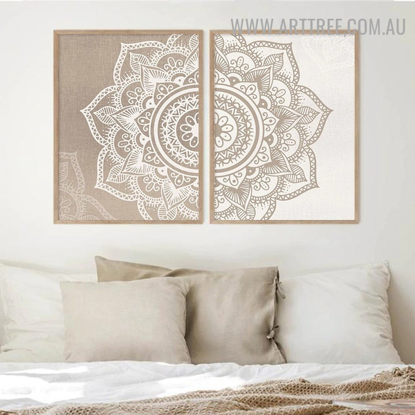 Floral Mandala Spots Abstract 2 Piece vintage Wall Art Photograph Canvas Print for Room Decor