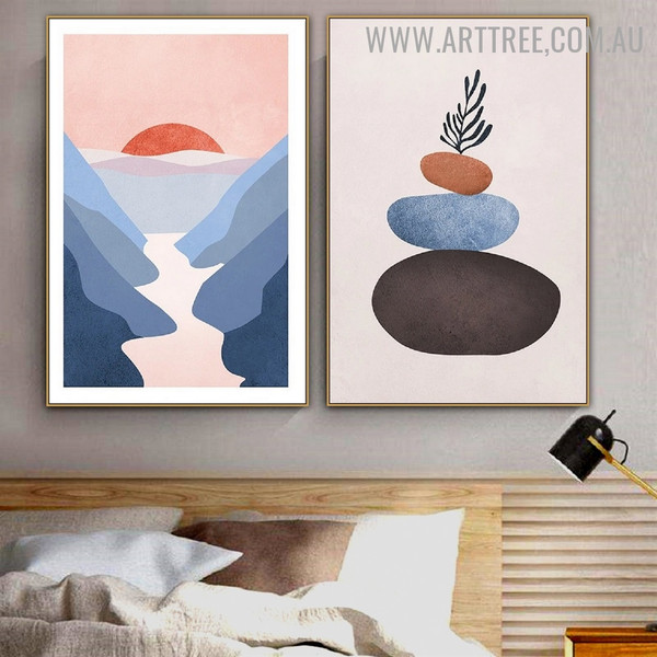 Roundly Stones Mountains Naturescape 2 Piece Scandinavian Modern Art Photograph Canvas Print for Room Wall Decoration