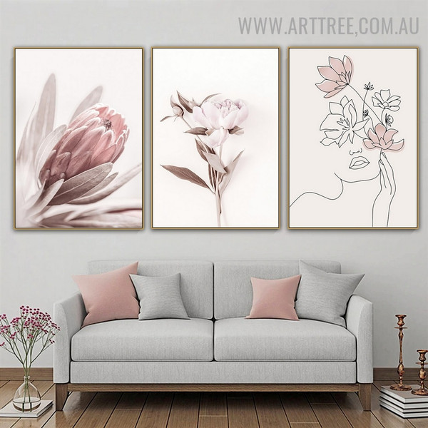 Peony Leaflets Flower Abstract Floral Modern Photo 3 Piece Canvas Print Wall Art for Room Finery