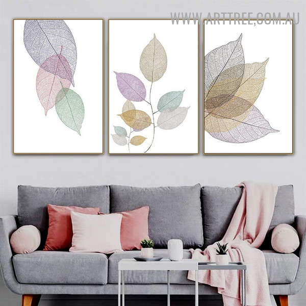 Transparent Foliage 3 Piece Abstract Painting Photograph Floral Modern Canvas Print for Room Wall Adornment