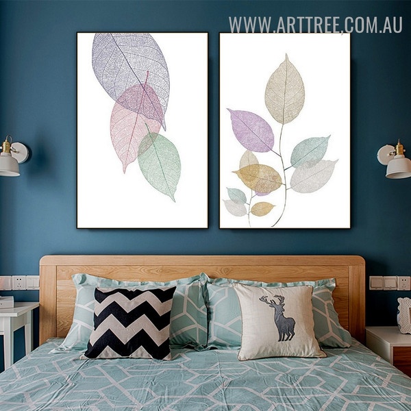 Transparent Leaflets Abstract Floral Modern Painting Image 2 Piece Canvas Print for Room Wall Tracery
