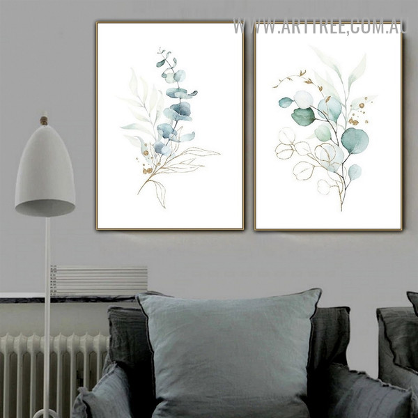 Eucalyptus Leaves Spots Modern Wall Art Picture Abstract Nordic Floral 2 Piece Canvas Print for Room Tracery