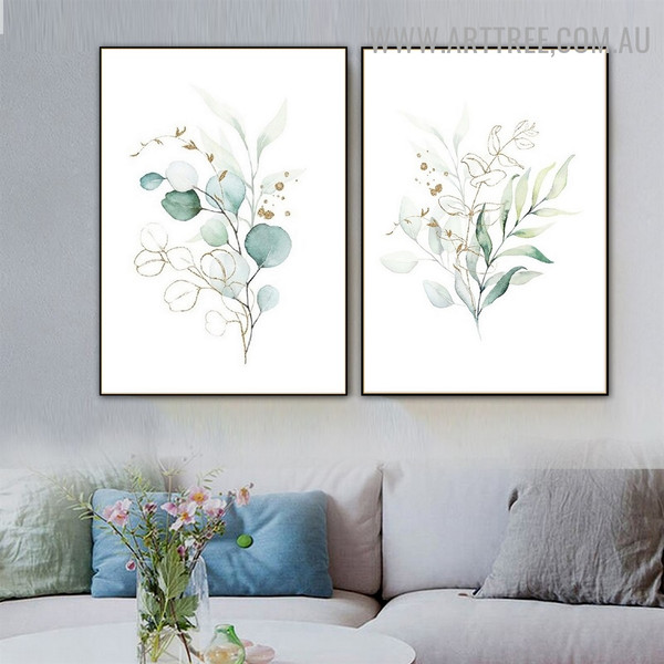 Golden Blur Eucalyptus Leaflets Abstract Floral 2 Piece Modern Art Photo Canvas Print for Room Wall Embellishment