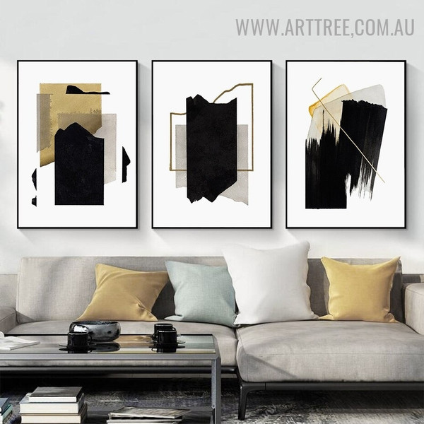 Golden Brush Effect 3 Piece Abstract Vintage Geometric Wall Art Picture Canvas Print for Room Decor