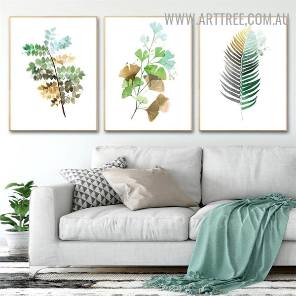 Tropical Palm Foliage Abstract Modern Painting Pic 3 Piece Floral Canvas Print for Room Wall Tracery