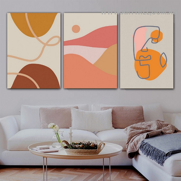 Roundly Daubs Sun Abstract 3 Piece Scandinavian Retro Artwork Picture Canvas Print for Room Wall Garniture