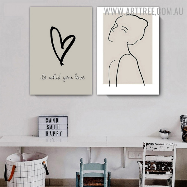 What You Love Woman Quotes Scandinavian Painting Pic Canvas 2 Piece Abstract Figure Art Print for Room Wall Tracery