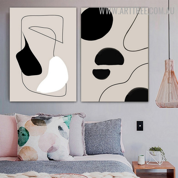 Roundly Blurs Spots Abstract 2 Panel Scandinavian Picture Canvas Print Geometric Artwork for Room Wall Assortment