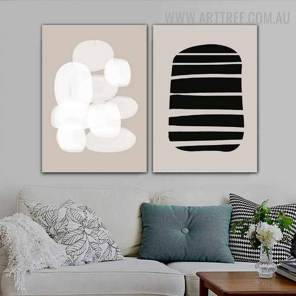 Bold Contour Lines Abstract Scandinavian 2 Piece Geometrical Painting Picture Canvas Print for Room Wall Embellishment