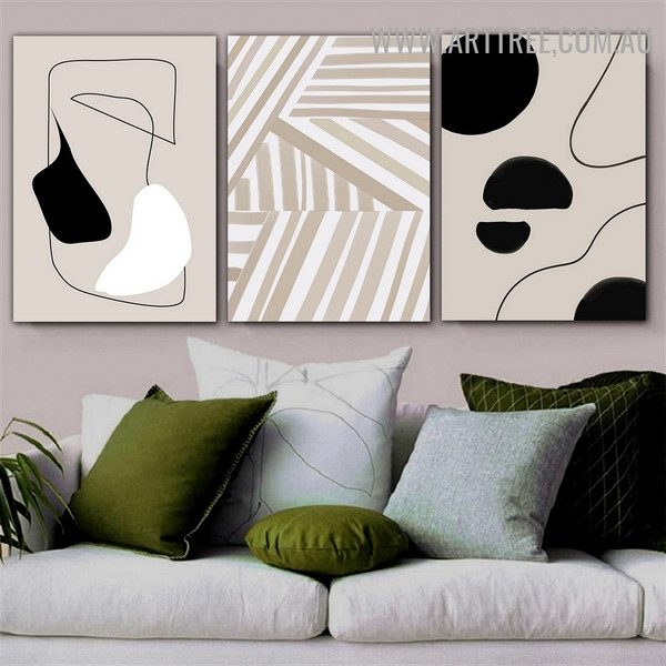 Slant Contour Spots Scandinavian Abstract Picture Canvas Print 3 Piece Geometrical Artwork for Room Wall Ornament