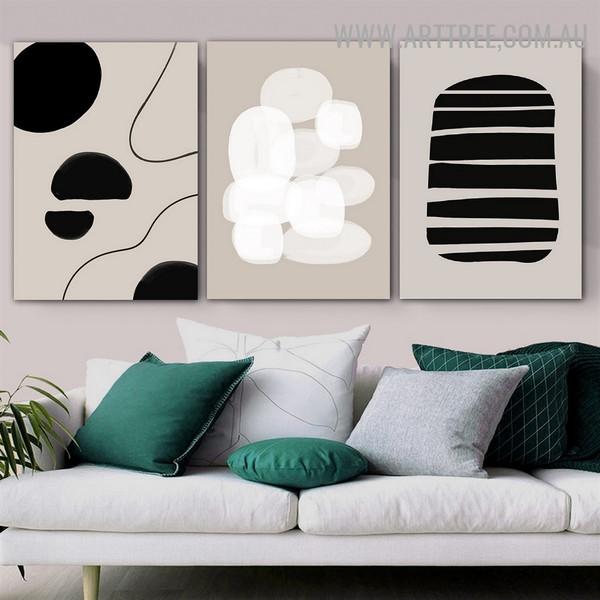 Bold Streak Daubs Lines Abstract Image 3 Panel Scandinavian Geometrical Art Canvas Print for Room Wall Drape