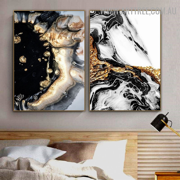 Colorific Speckles Marble Pattern Modern Painting Photo 2 Panel Abstract Canvas Print for Room Wall Moulding