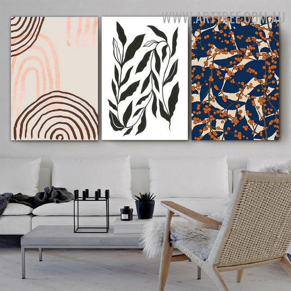 Berries Leaflets Lines Abstract Floral Vintage Artwork Image 3 Piece Canvas Print for Room Wall Drape