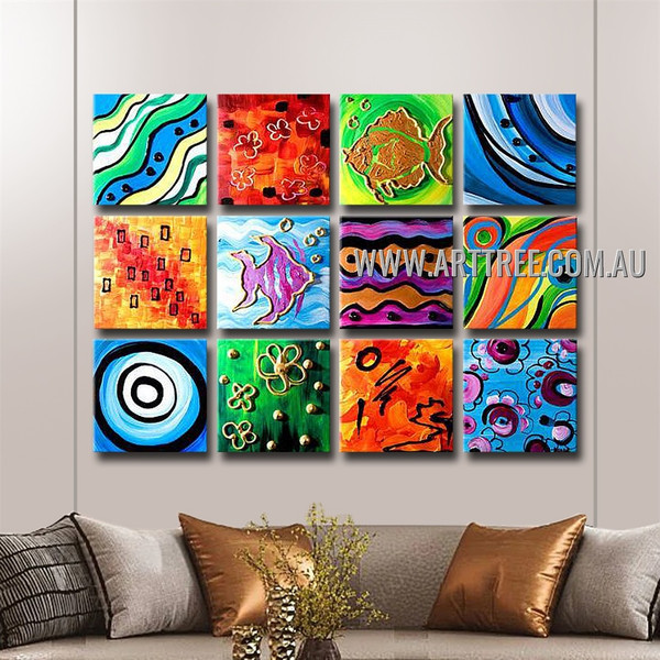 Wavy Lines Abstract Modern Handmade Artist Heavy Texture 12 Piece Split Complementary Paintings Wall Art Set For Room Garnish