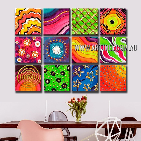 Starry Tarnishes Abstract Contemporary Handmade Artist Heavy Texture 12 Piece Multi Panel Canvas Oil Painting Wall Art Set For Room Ornament