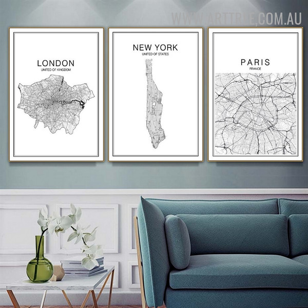 United Of Kingdom Paris 3 Piece Typography Modern Wall Art Picture Abstract Map Canvas Print for Room Assortment