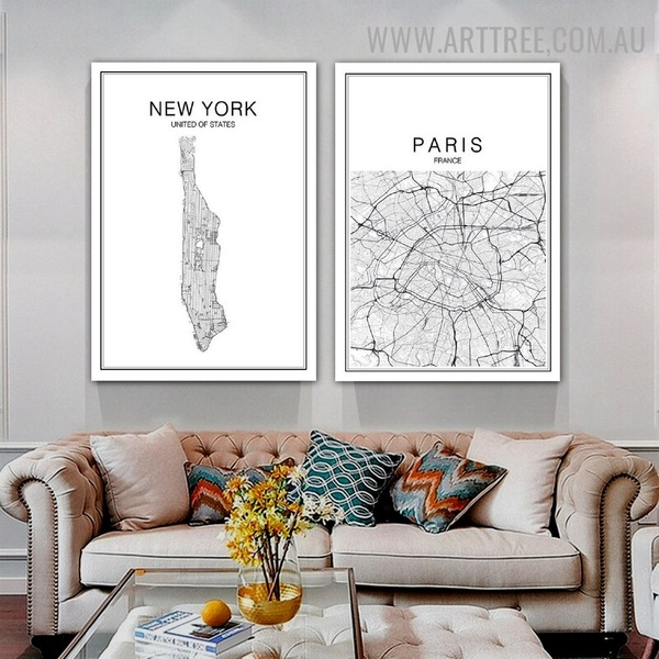 United Of States Paris Abstract Map Modern Painting Image 2 Panel Typography Canvas Print for Room Wall Garnish