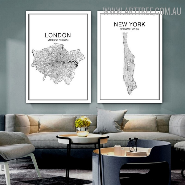 London New York 2 Piece Abstract Map Painting Image Modern Typography Canvas Print for Room Wall Finery