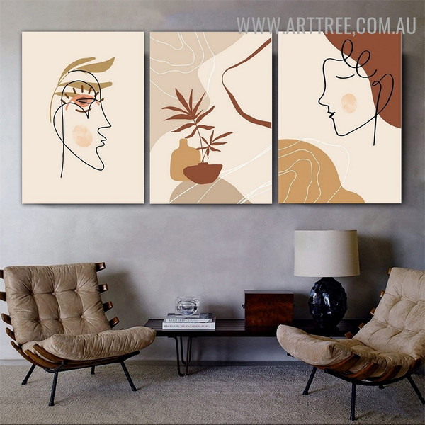 Dona Face Leaves 3 Piece Scandinavian Abstract Floral Painting Picture Canvas Print for Room Wall Adornment