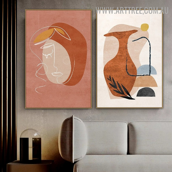 Semi Orb Vase Face 2 Piece Scandinavian Abstract Geometric Painting Image Canvas Print for Room Wall Moulding