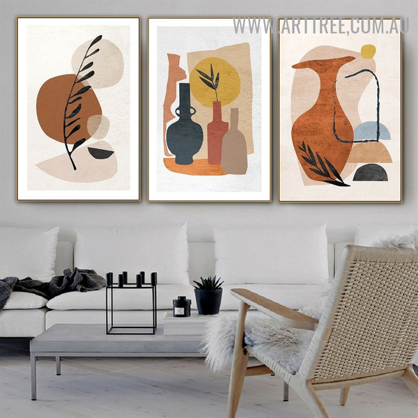 Vase Leaflets Circles 3 Piece Geometrical Painting Pic Abstract Scandinavian Canvas Print for Room Wall Getup