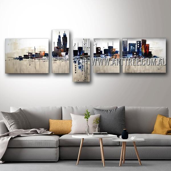 Chromatic City Abstract Modern Handmade 5 Piece Split Panel Painting Wall Art Set For Room Décor