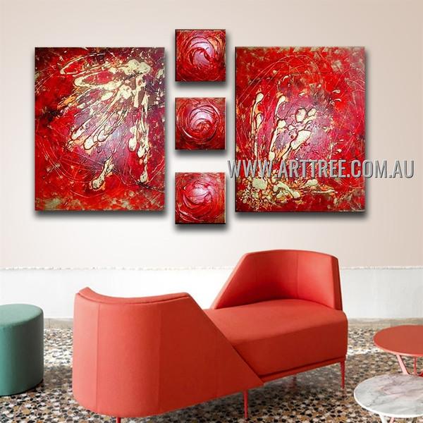 Chromatic Flecks Abstract Modern Handmade Artist Heavy Texture 5 Piece Multi Panel Oil Paintings Wall Art Set For Room Moulding