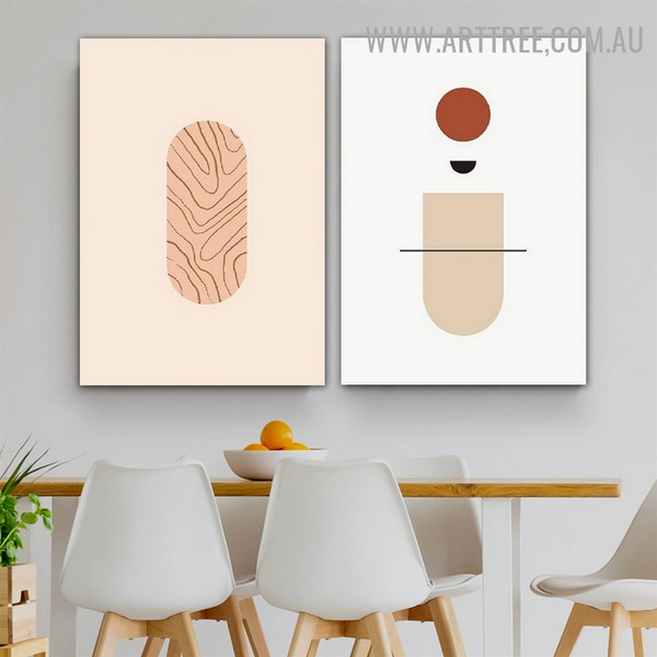 Curved Stains Circles Geometrical Artwork Photo 2 Piece Scandinavian Canvas Print for Room Wall Illumination