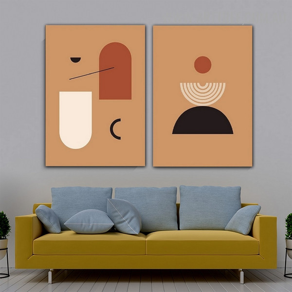Semi Sphere Lines Scandinavian Abstract 2 Piece Geometrical Art Pic Canvas Print for Room Wall Embellishment