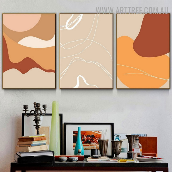 Colorific Smirch Lines 3 Piece Scandinavian Geometrical Abstract Art Photo Canvas Print for Room Wall Assortment
