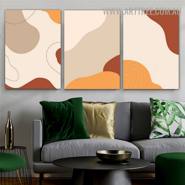 Colorific Speck Spots Scandinavian Geometric Painting Pic Canvas 3 Piece Abstract Art Print for Room Wall Illumination