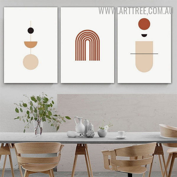 Curved Alignment Circles 3 Piece Geometrical Abstract Scandinavian Artwork Photo Canvas Print for Room Wall Garnish