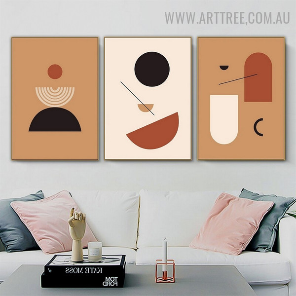 Motley Semi Rounds Lines 3 Piece Abstract Scandinavian Geometrical Wall Art Picture Canvas Print for Room Adornment