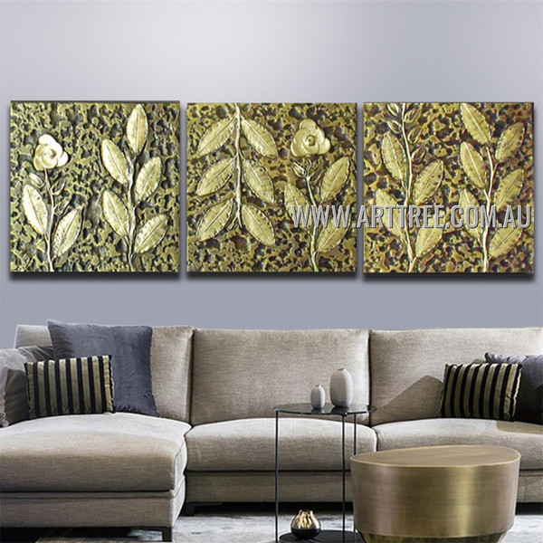 Green Leaves Abstract Botanical Vintage Artist Handmade 3 Piece Split Canvas Paintings Wall Art Set For Room Getup