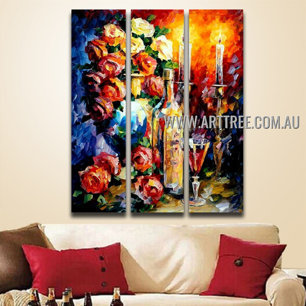 Red Wine Floral Vintage Leonid Afremov Reproduction Artist Handmade 3 Piece Multi Panel Canvas Oil Painting Wall Art Set For Room Assortment