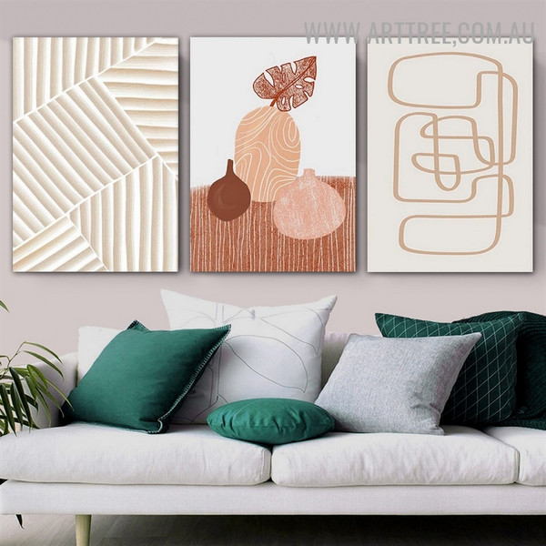 Vases Leaflet Lines Abstract Scandinavian Photo 3 Piece Geometrical Art Canvas Print for Room Wall Adornment