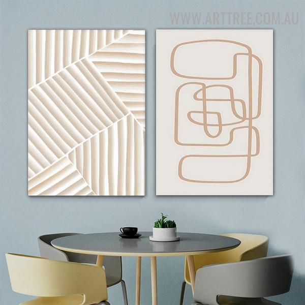 Strokes Abstract Scandinavian Artwork Photo 2 Piece Geometric Canvas Print for Room Wall Flourish