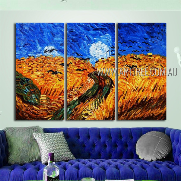 Wheat Field With Crows Landscape Reproduction Heavy Texture Artist Handmade 3 Piece Multi Panel Canvas Oil Painting For Room Garnish