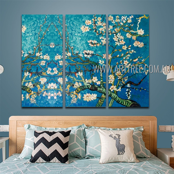 Almond Blossoms Floral Reproduction Heavy Texture Artist Handmade 3 Piece Split Oil Painting Wall Art Set For Room Decor