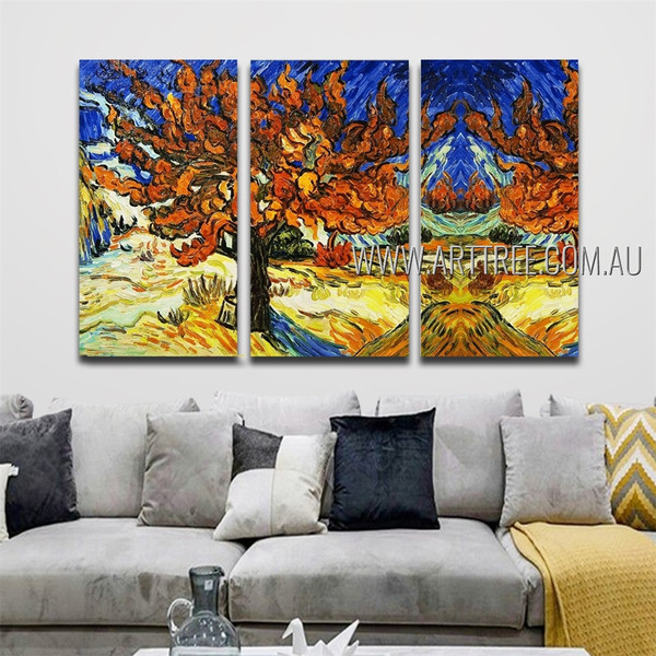 The Mulberry Tree Landscape Floral Reproduction Heavy Texture Artist Handmade 3 Piece Split Canvas Paintings Wall Art Set For Room Onlay
